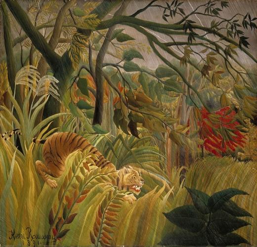 Tigre en una tormenta tropical. (Sorprendido) Henri Rosseau Rossea10
