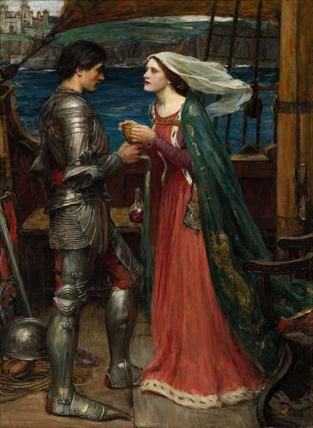 """""""Tristán e Isolda compartiendo la poción"""". John William Waterhouse Sotheb10"""