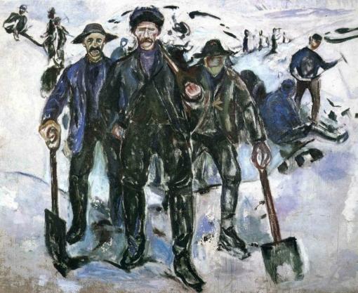 Trabajadores en la nieve. Edvard Munch Worker11