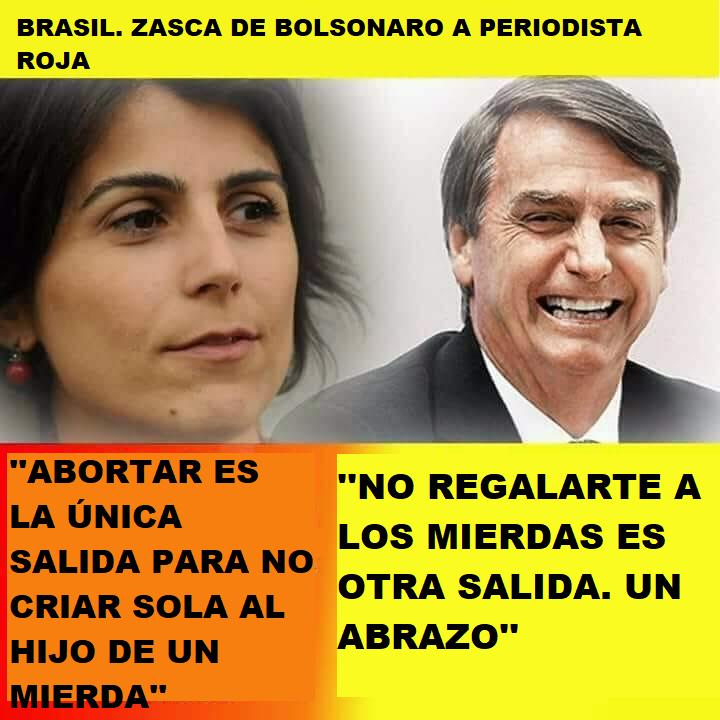 Legendario zasca de Bolsonaro a periodista roja Mayo 2018 Aborta10