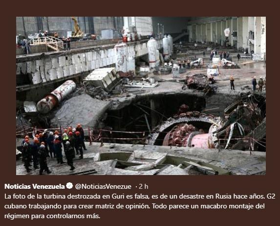 Las fotos que el G2 cubano pone ''del sabotaje en Guri'' son de Siberia Fake_n10