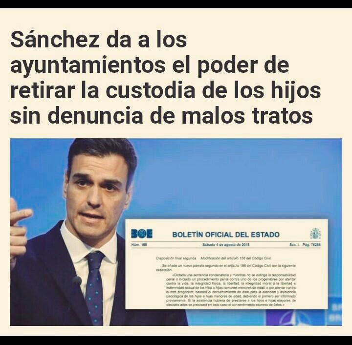 Pedro Sánchez decreta que los ayuntamientos quiten la custodia al padre sin mediar denuncia Szench10