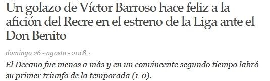 ASI VIERON LOS PERIODICOS EL RECRE 1-CD DON BENITO 0 0822