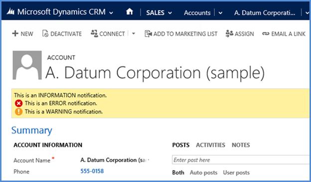Dynamics CRM Alert and Notification JavaScript Methods 09231511