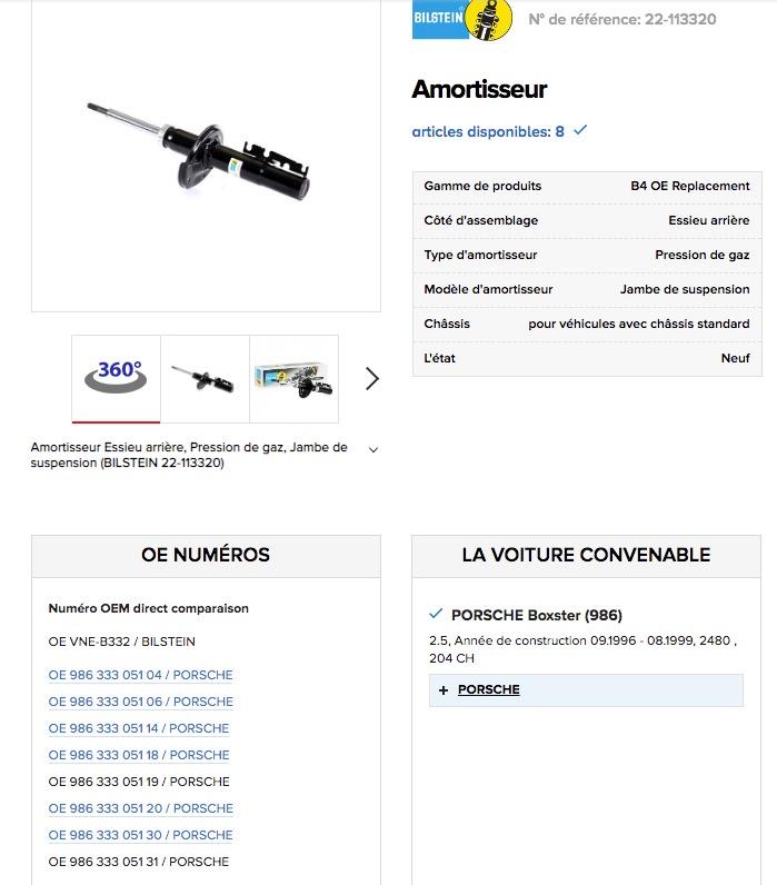 Amortisseurs Boxster 986, option M030 Captur81