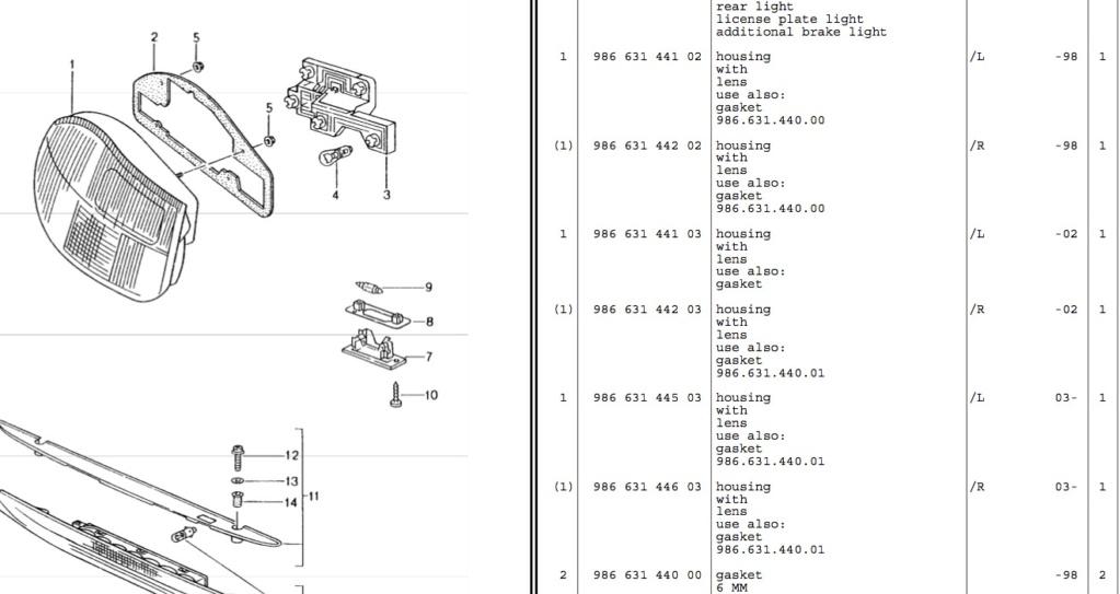 Feux arrière porsche boxster 986 Captur83