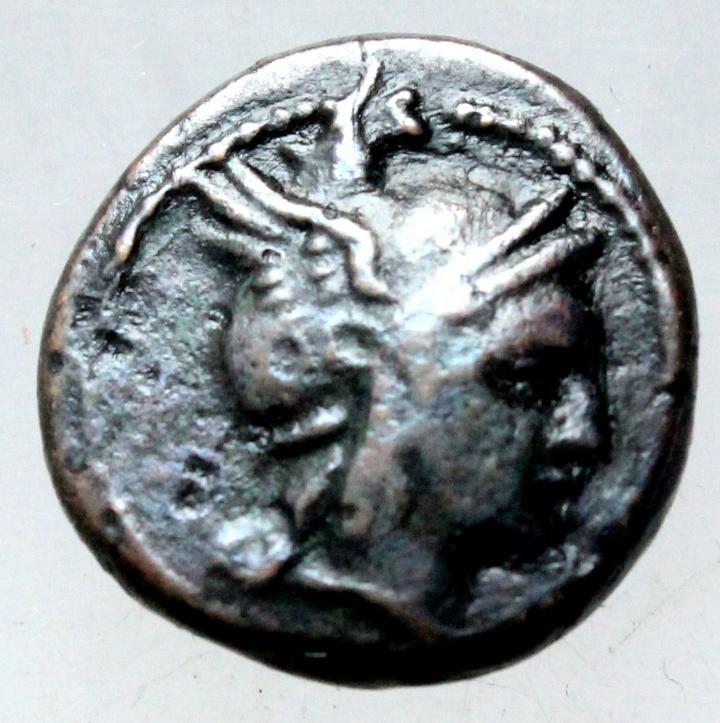 AE16 de Filipo V. Cabeza de Perseo. 20190820