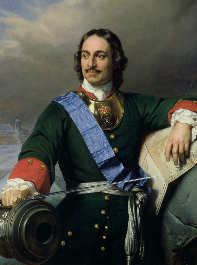 Kopek de alambre de plata de Pedro I el Grande. Rusia, 1711. 800px-15