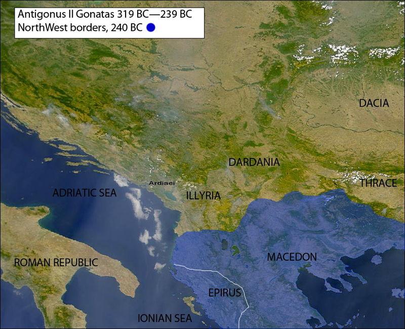 Unidad de cobre de Antígono II Gónatas. Reino de Macedonia, c.250 a.C. 800px-25