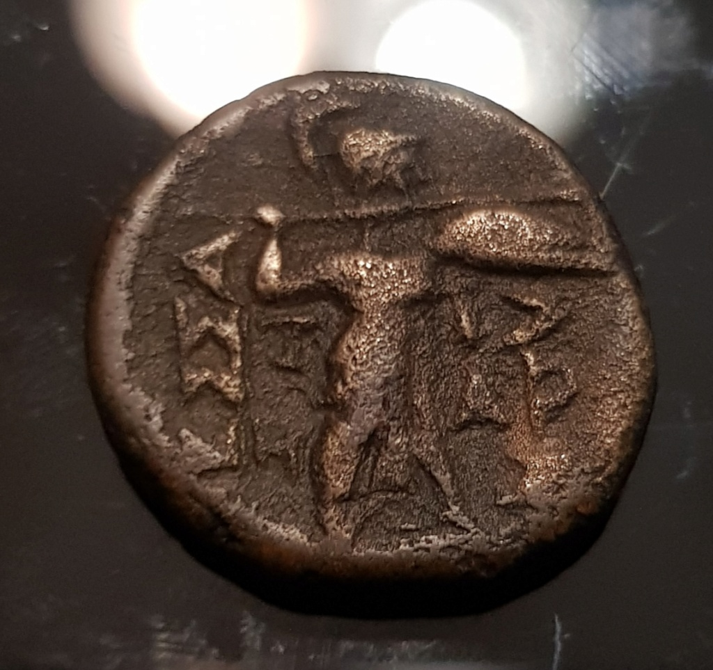 Unidad de Cobre de la Liga Tesalia, 196 a.C. - 146 a.C. Apolo a derecha. Img-2035