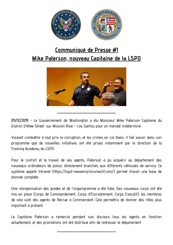 Communiqué #1 - Mike Paterson élu Capitaine du Los Santos Police Department Commun11