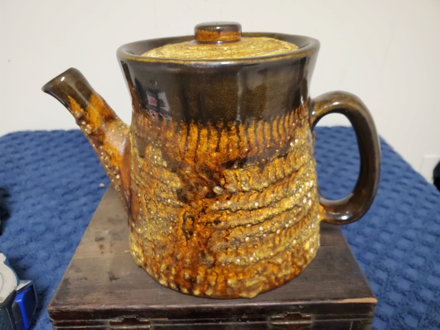 Unidentified Teapot with Lava Style Finish - Similar to Rockingham but Not 20210614