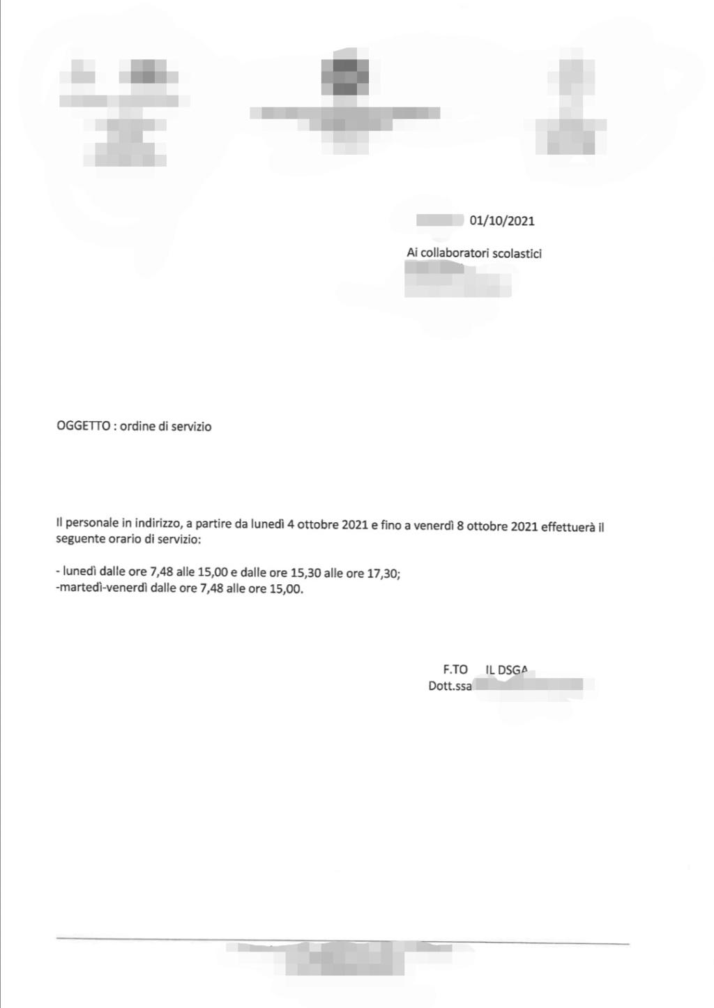 ORDINE DI SERVIZIO ATA COLLABORATORI SCOLASTICI Screen11