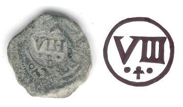 8 maravedís de Cuenca de algún Felipe resellados a VIII de 1641 ceca Toledo. 2_anv11