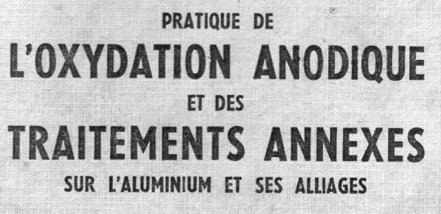 Anodisation de l'aluminium S1110