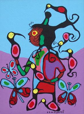Peinture Shamanique - Tableaux  de Norval MORRISSEAU Birdbo10