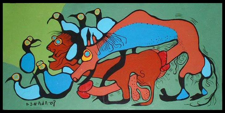 Peinture Shamanique - Tableaux  de Norval MORRISSEAU Erotic10