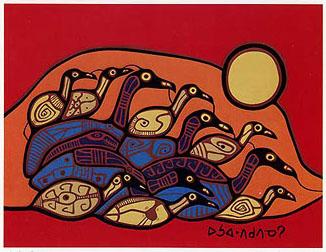 Peinture Shamanique - Tableaux  de Norval MORRISSEAU Flock210