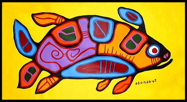 Peinture Shamanique - Tableaux  de Norval MORRISSEAU Salmon10