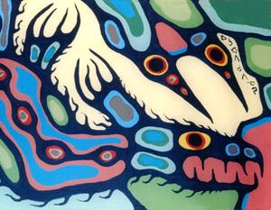 Peinture Shamanique - Tableaux  de Norval MORRISSEAU Serpen10