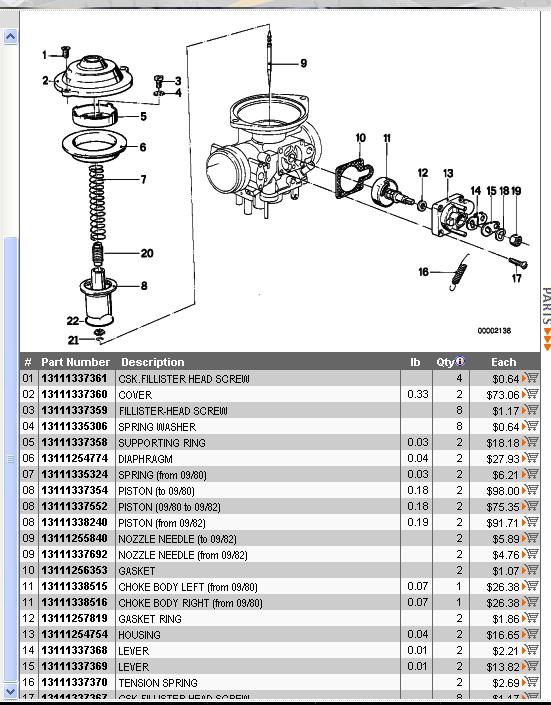 Membrane Bing 32 couvercle plat de R65 Carb10