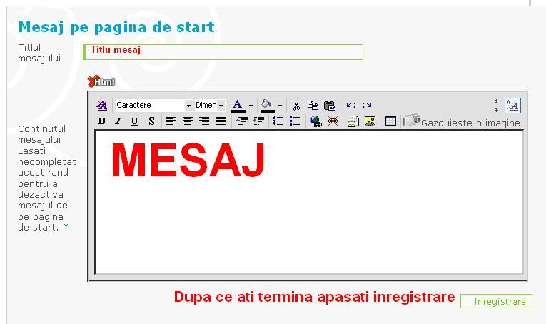 Mesaj pe pagina de start Panou310
