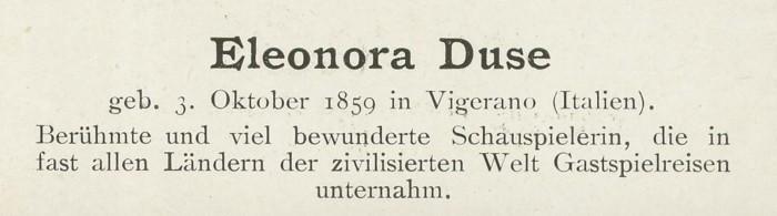 Sammlung Persönlichkeiten des 19. Jahrhunderts Duse_410