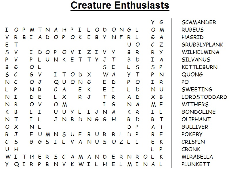Creature Enthusiasts Word Search Creatu10