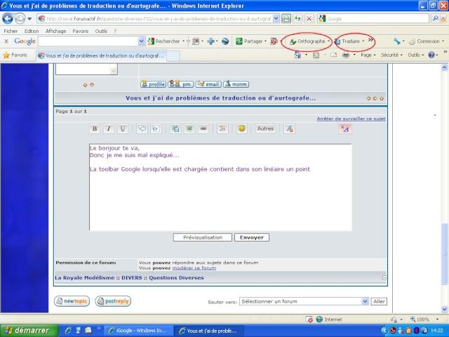 Vous et j'ai de problèmes de traduction ou d'aurtografe... Toolba11