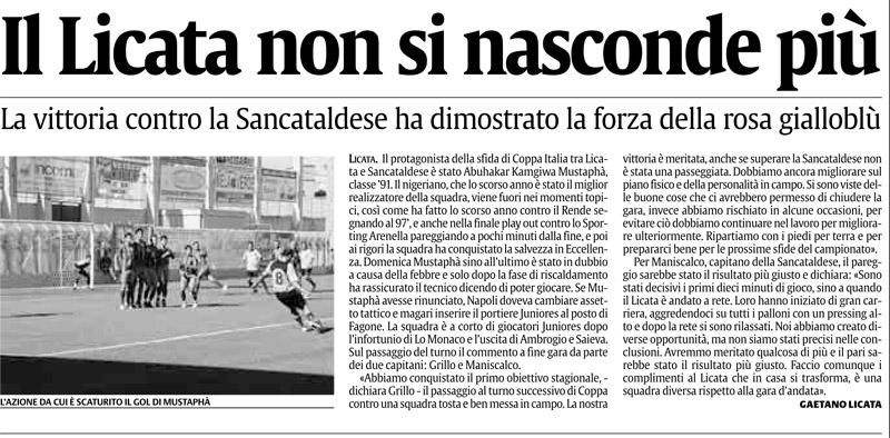 1° turno Coppa Italia ritorno: Licata - Sancataldese 1-0 Ag10
