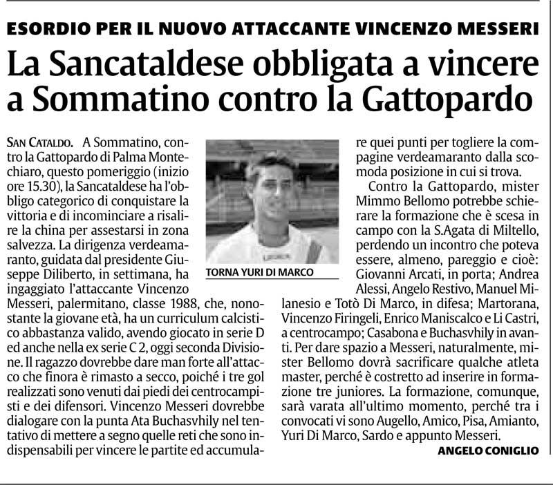 Campionato 7° giornata: Sancataldese - Gattopardo 1- 0 Cn22sc10