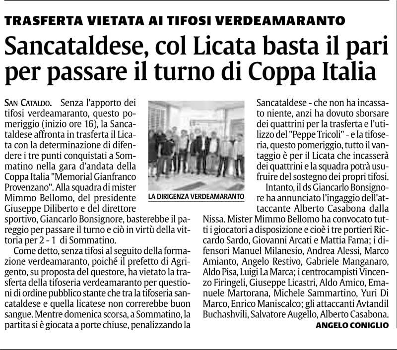 1° turno Coppa Italia ritorno: Licata - Sancataldese 1-0 Cnsc114