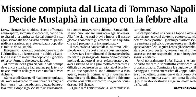 1° turno Coppa Italia ritorno: Licata - Sancataldese 1-0 Cnsc14