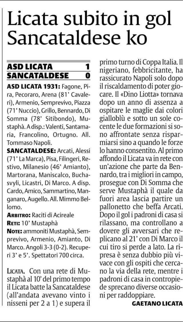 1° turno Coppa Italia ritorno: Licata - Sancataldese 1-0 Cnsc218