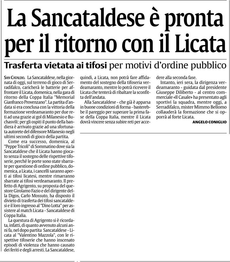 1° turno Coppa Italia ritorno: Licata - Sancataldese 1-0 Suca11