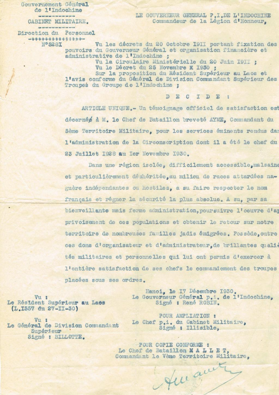 Placard de rappels  cdt Georges-Albert Aymé  Chef de Bataillon 1 régiment Tonkin Citati11