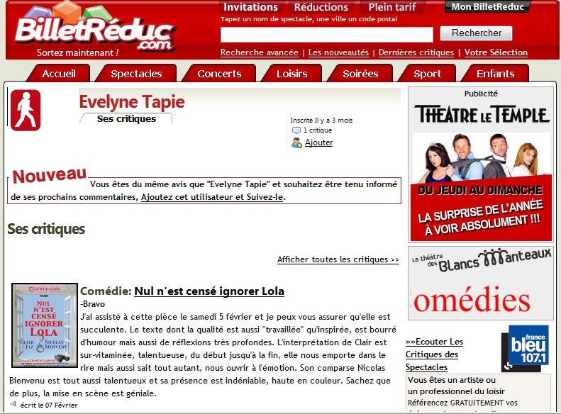 Coup de coeur d'Evelyne Tapie : Comédie : Nul n'est cense ignorer Lola Comlol10