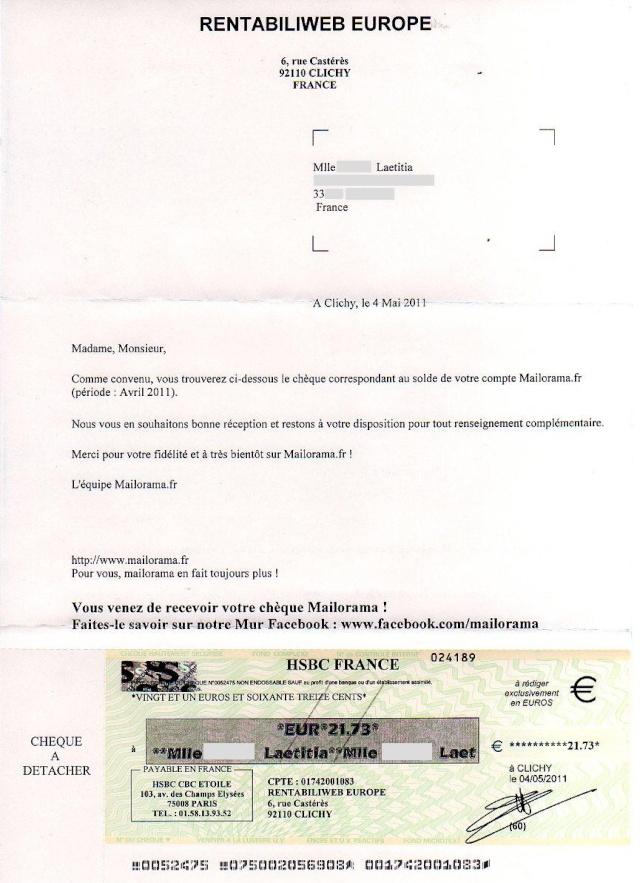 Mailorama : clics rémunérés Mailor10
