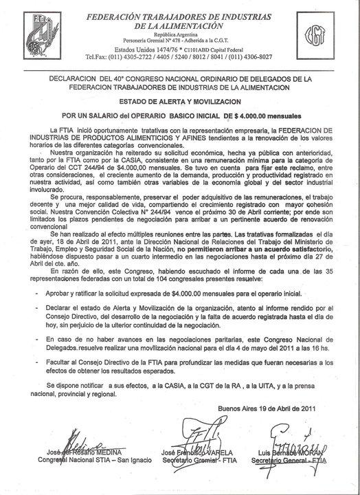 PARITARIAS 2011 - SINDICATO DE ALIMENTACION, PUNTA DE LANZA Movili10