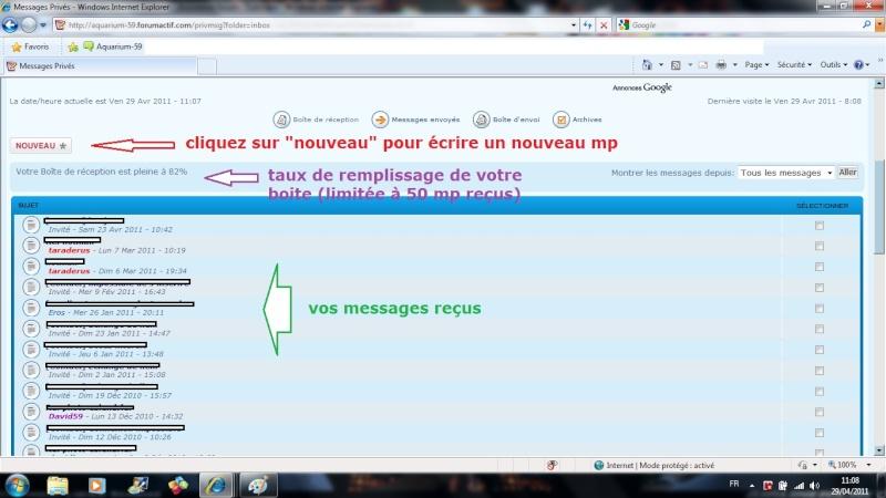 gestion messagerie privée Lectur10