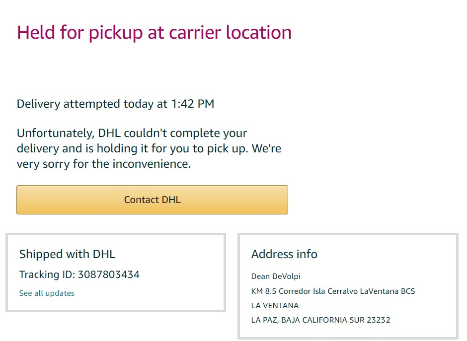 amazon delivers to laventana details Order_14