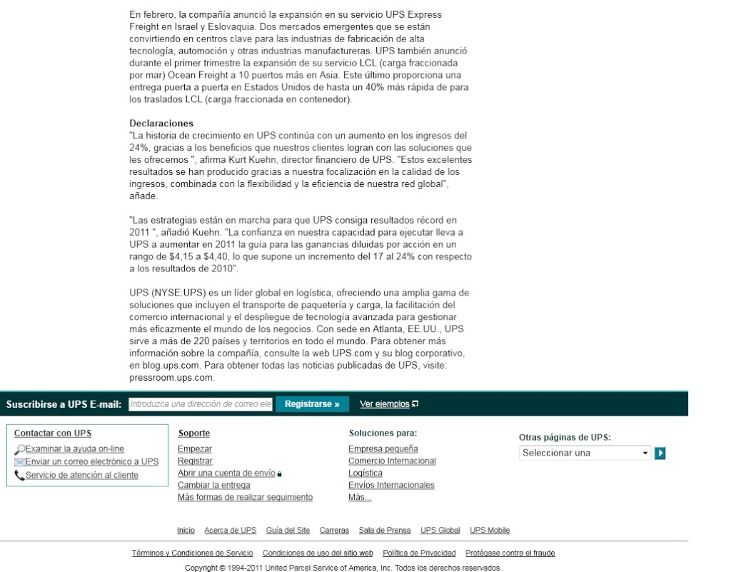 LOS INGRESOS DE UPS CONTINÚAN EN AUMENTO 10-06-10