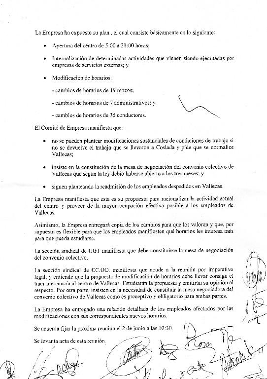 Vídeo de la concentración del Jueves 26  en la nave de UPS Vallecas y acta de la reunión mantenida con la empresa. Acta2613