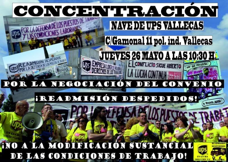 Concentración Jueves 26 de Mayo a las 10:30 H de la mañana en la nave de UPS Vallecas Cartel15