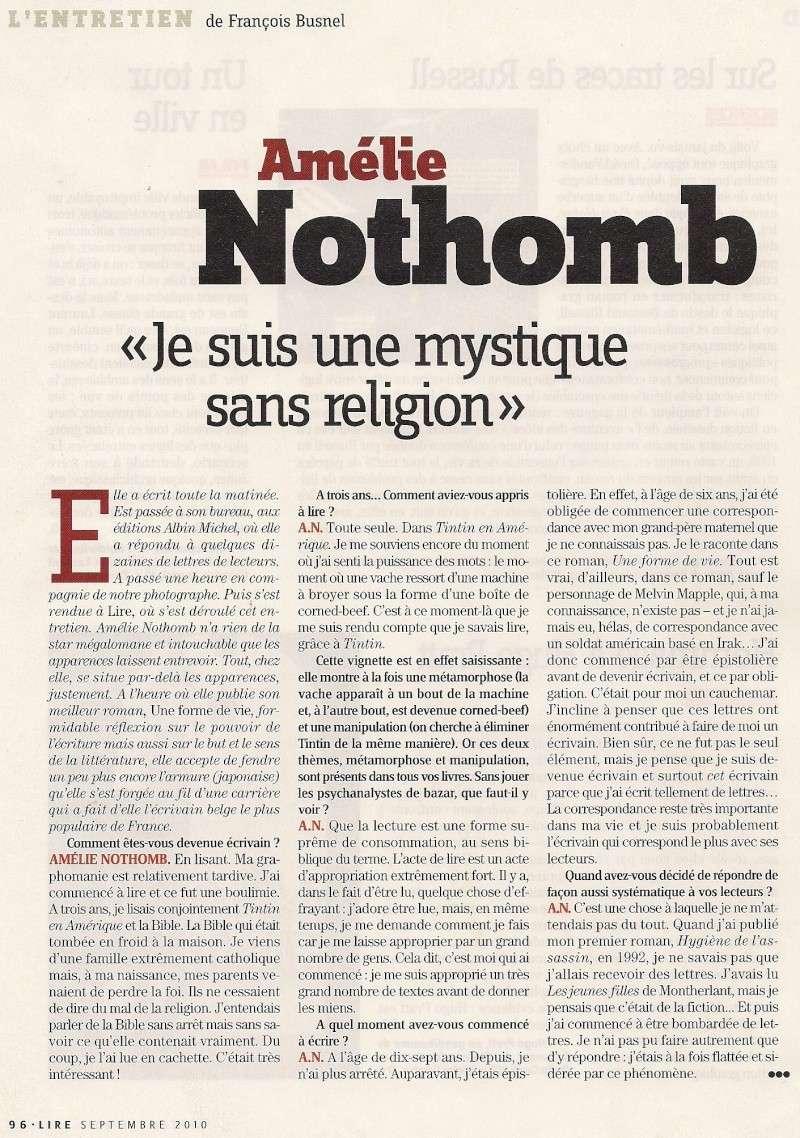 Amélie Nothomb fend(enfin) l'armure, Lire (septembre 2010) Lir210
