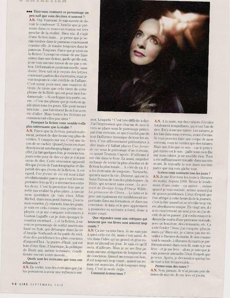 Amélie Nothomb fend(enfin) l'armure, Lire (septembre 2010) Lir410