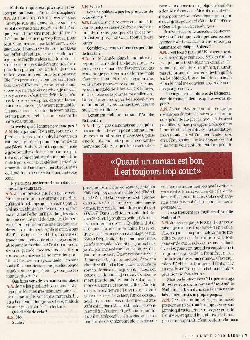 Amélie Nothomb fend(enfin) l'armure, Lire (septembre 2010) Lir510