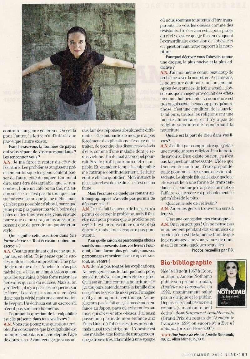 Amélie Nothomb fend(enfin) l'armure, Lire (septembre 2010) Lir710