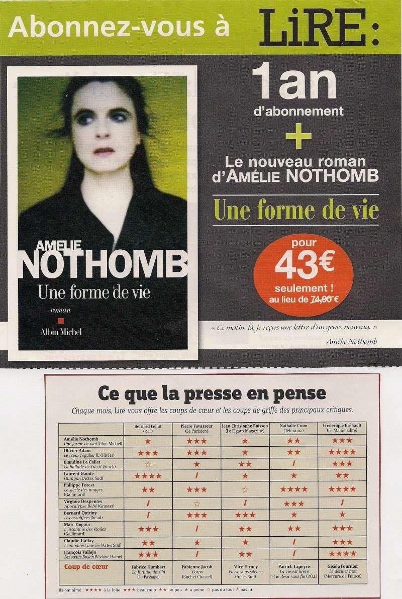Amélie Nothomb fend(enfin) l'armure, Lire (septembre 2010) Numari10