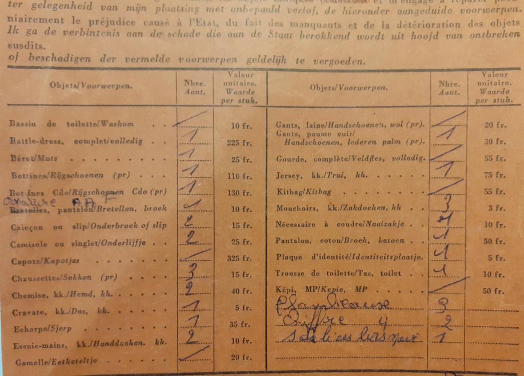 List of issued clothing (Fiche d'Évacuation d'Habillement / Steekkaart voor Evacuatue van Kleding) Belgia11